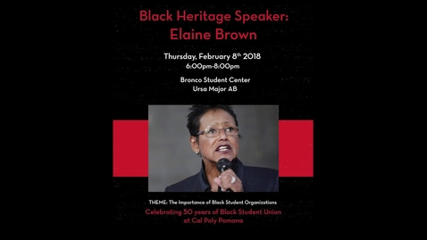 Thumbnail for entry Black Heritage Speaker: Elaine Brown