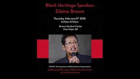 Thumbnail for entry Black Heritage Speaker: Elaine Brown