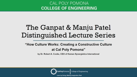 Thumbnail for entry Robert A. Cooke - Ganpat & Manju Patel Distinguished Lecture Series