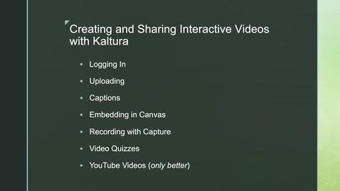Thumbnail for entry Kaltura, Technology Tutorial