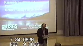 """Thumbnail for entry 2006/11/09 Dr. Daniel Fagre- """"How Glacier National Park Responds to Climate Change: Cascading Ecological Effects Reflect Rising Temperatures"""" Environmental Lecture"""