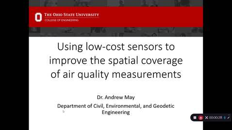 "Thumbnail for entry 2020/01/23 Dr. Andrew May- ""Using low-cost sensors to improve the spatial coverage of air quality measurements"""