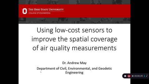"""Thumbnail for entry 2020/01/23 Dr. Andrew May- """"Using low-cost sensors to improve the spatial coverage of air quality measurements"""""""