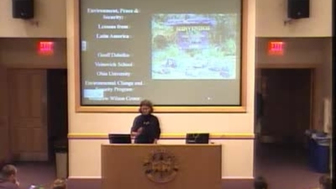 """Thumbnail for entry 2013/11/07 Dr. Geoffrey Dabelko- """"Environment, Peace, and Security: Lessons from Latin America"""" Environmental Lecture"""