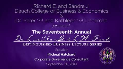 Thumbnail for entry The Seventeenth Annual Lucille G. and L.W. Ford Distinguished Lecture Series
