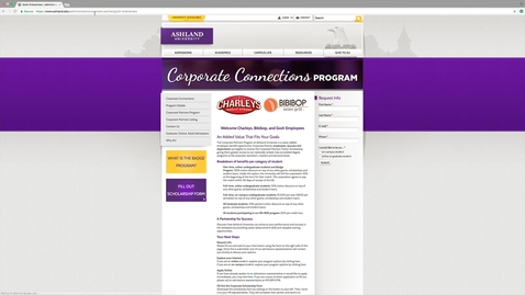 Thumbnail for entry Ashland University Gosh Corporate Partnership Website Walk-Through
