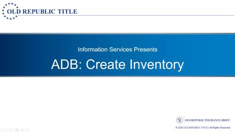 Thumbnail for entry Create Inventory
