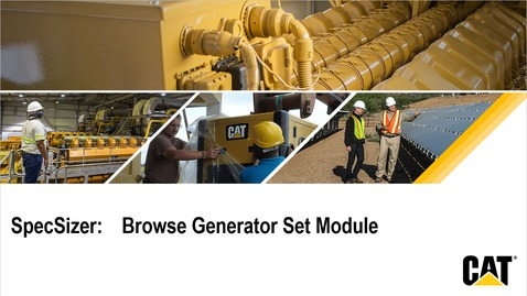Thumbnail for entry SpecSizer - Browse Generator Set Overview