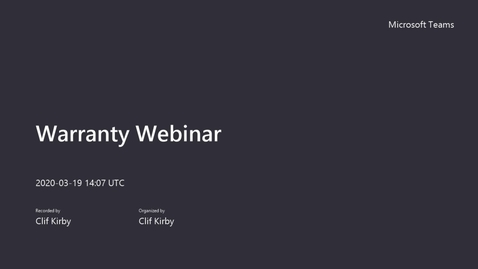 Thumbnail for entry 19MAR2020  Warranty Webinar