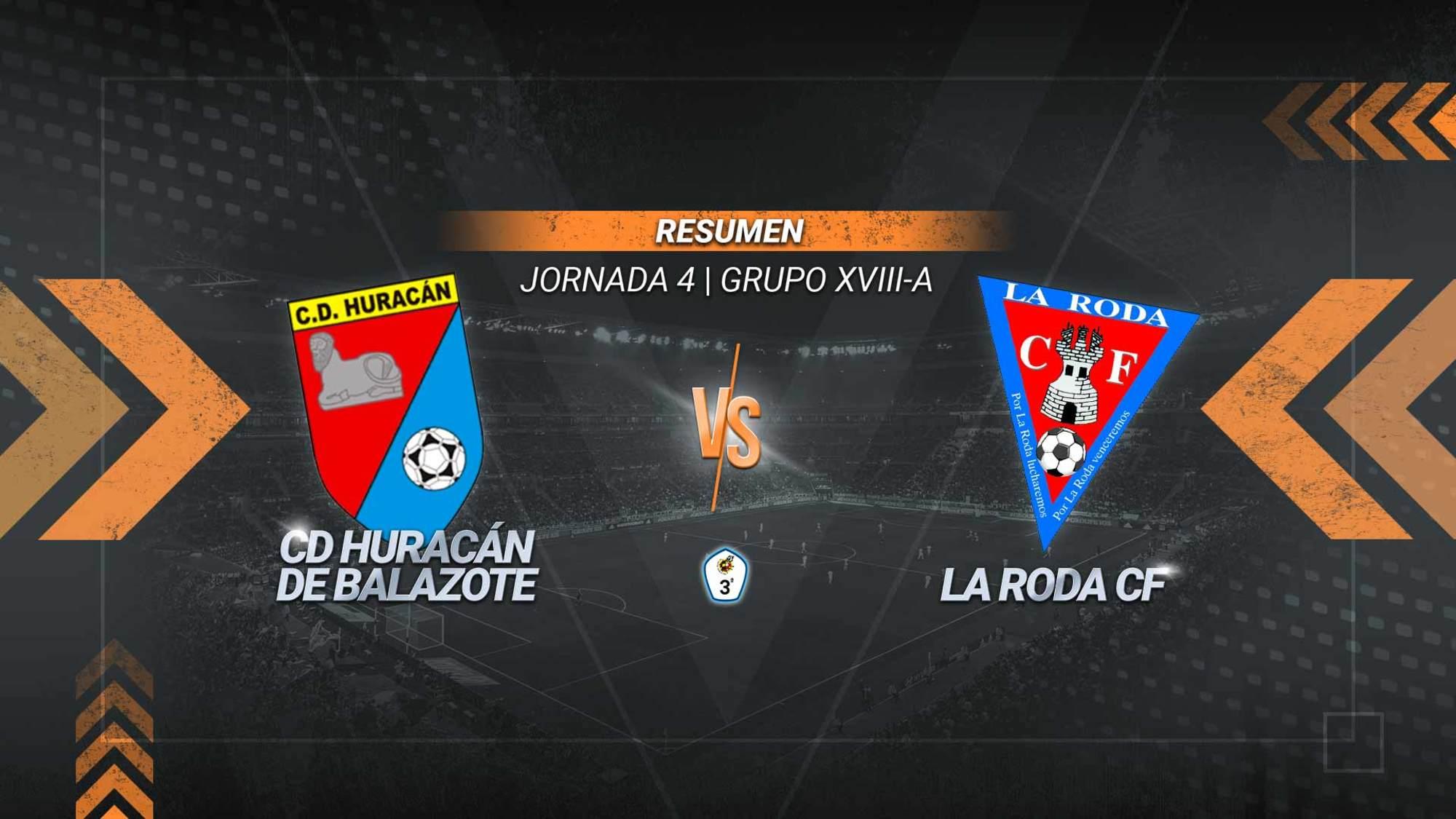 La Roda no puede con el Huracán pero suma un punto que le sitúa líder del subgrupo A. Los rodenses fallaron un penalti en la recta final y los de Balazote se mantienen invictos con ocho puntos.