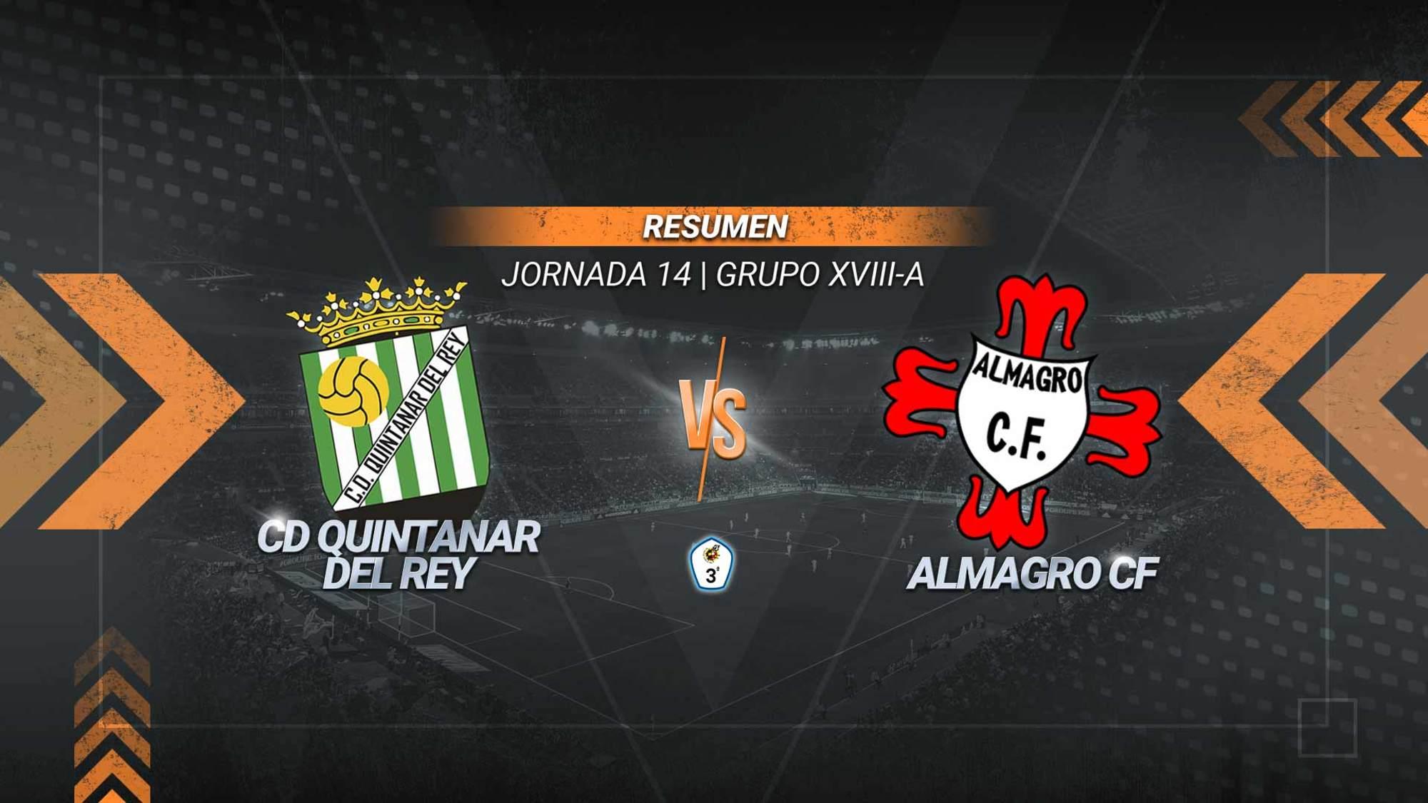 El Quintanar sentencia al Almagro en cinco minutos mágicos. Álvaro Collado, Carlos Jiménez y Kain marcaron los tantos quintanareños antes del descanso para dejar los tres puntos en el San Marcos.