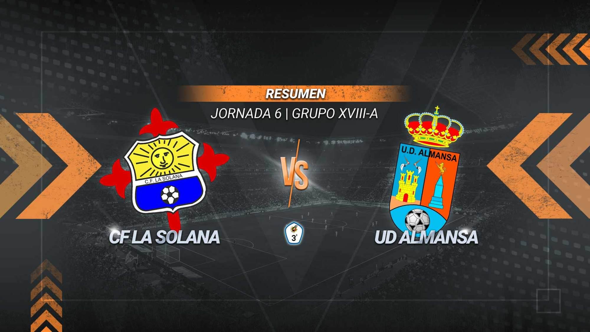 La Solana y Almansa se reparten los puntos en La Moheda. Luque adelantó a los locales y Pascu logró el tanto del empate. En la primera parte Meshack falló un penalti para los de Pepe Berja, que acabó expulsado.