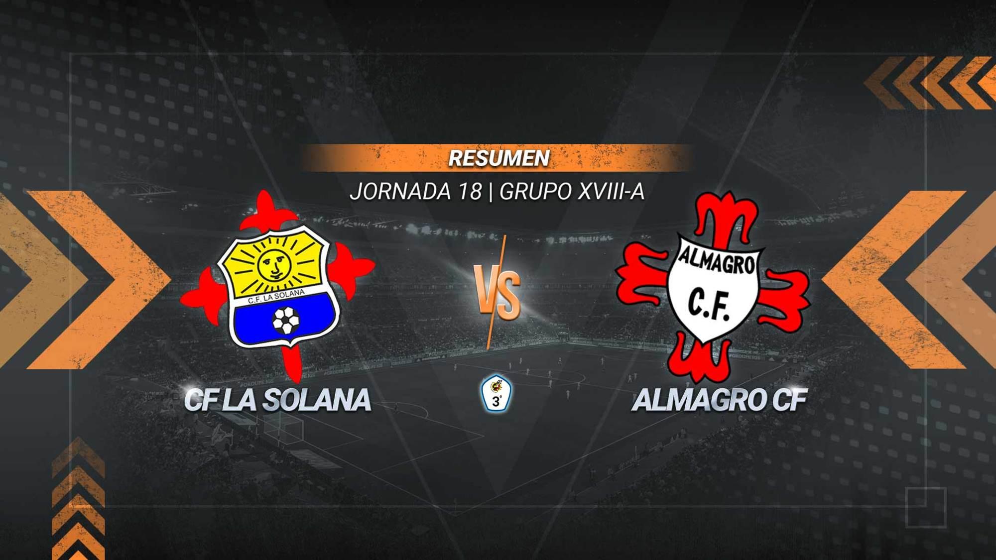 La Solana se impone al Almagro en un duelo directo por la salvación. Los goles de Said y Ángel Luis sirven a los solaneros para ser novenos con 15 puntos. Los almagreños, que acabaron con ocho jugadores, continúan colistas con 11.