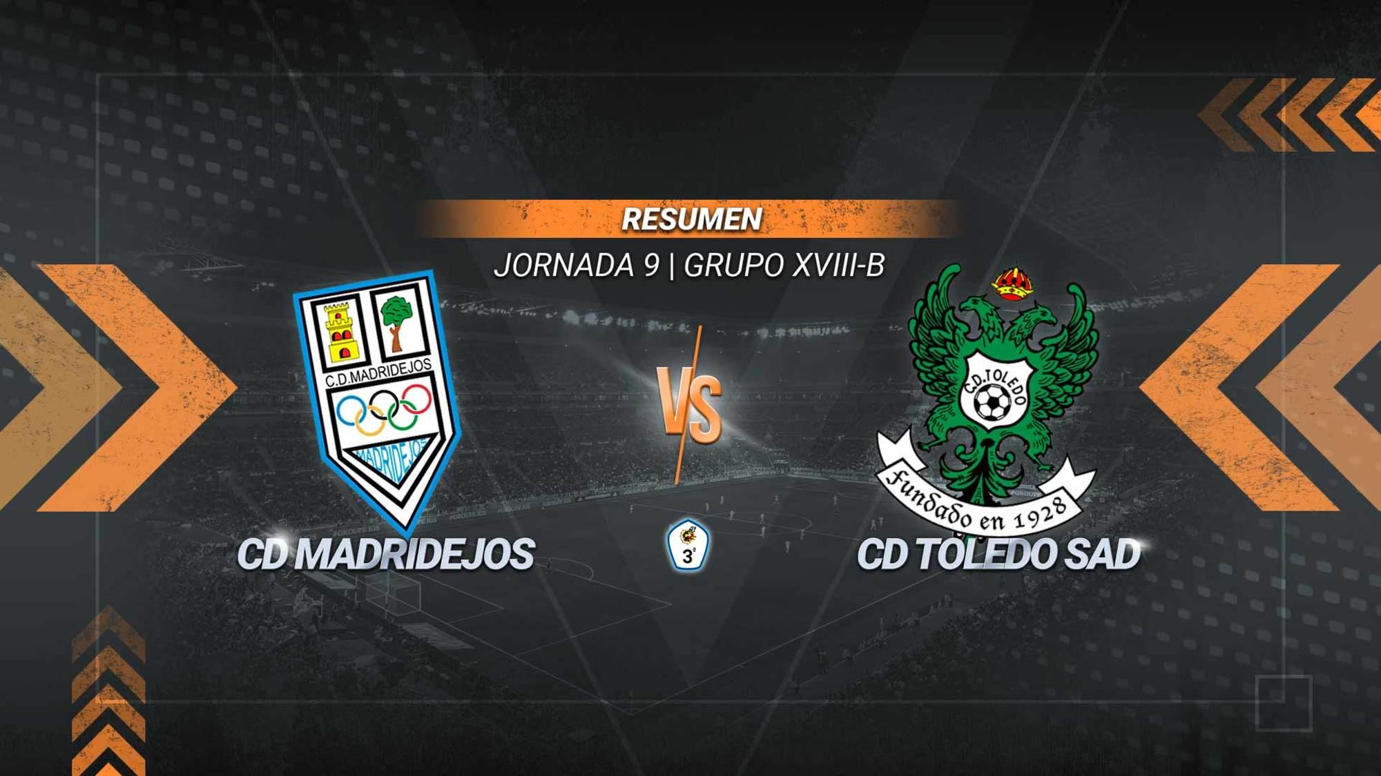 El Toledo se reafirma en el liderato con un cómodo triunfo a domicilio. Álvaro Antón, de penalti, Titi Maiga y Mansour fueron los goleadores del equipo de Aguirre. El Madridejos sigue sin ganar y cierra la tabla en el subgrupo B.