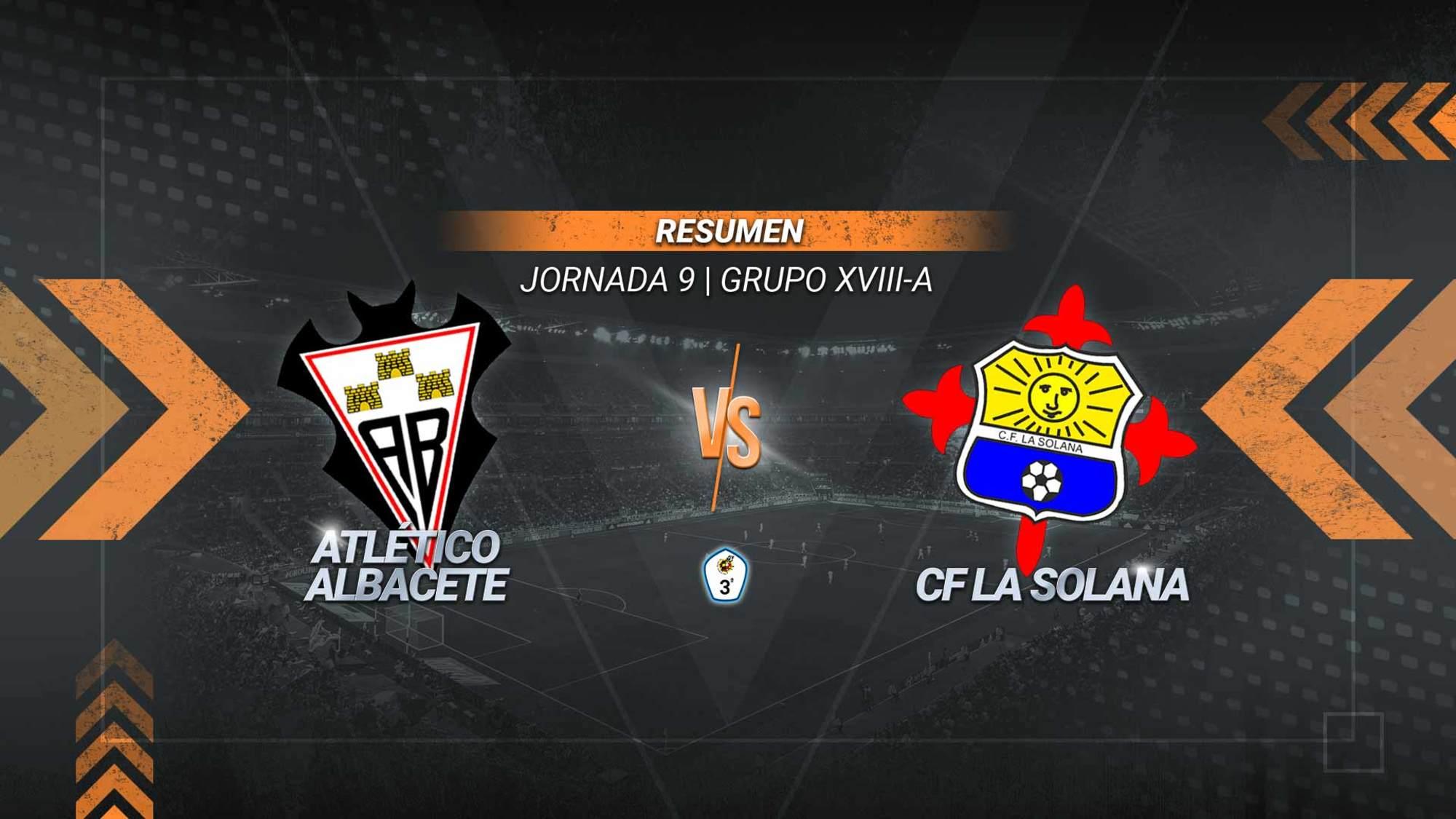 El Atlético Albacete pasa por encima de La Solana y se mantiene líder del subgrupo A. Los goles de Borja, Víctor y Vargas sirven al filial para sumar su tercer triunfo consecutivo. El conjunto solanero se queda en la parte baja de la tabla con cinco puntos.