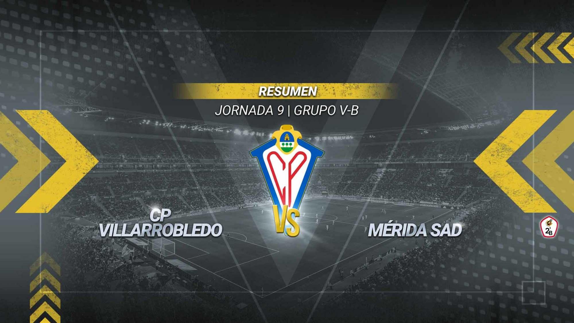 El Villarrobledo vuelve a cosechar una derrota en casa, esta vez ante el tercero de la tabla, el Mérida. Los extremeños se adelantaron a los cinco minutos de partido con un tanto de Marc Fraile, y a pesar del rápido empate de Dani Ndi en el 15', el conjunto visitante se fue al descanso con el definitivo 1-2 gracias a un gran gol de Álvaro Barbosa. En la segunda parte los hombres de Edu Pérez lo intentaron pero no pudieron sacar un resultado positivo, manteniéndose en el puesto de farolillo rojo del subgrupo 5B de la Segunda División B, con tan sólo cuatro puntos.