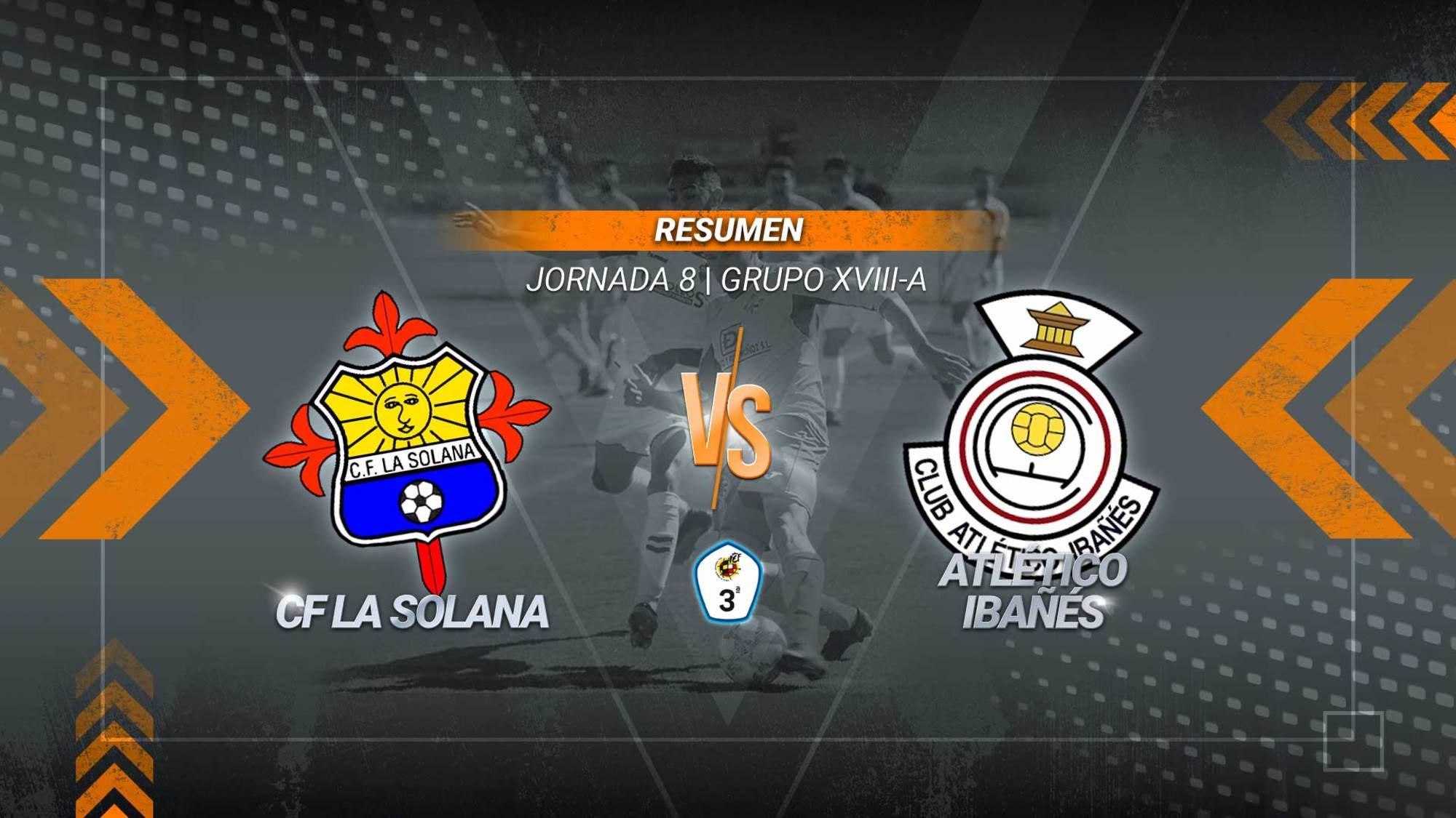 Dos goles en tres minutos y reparto de puntos en La Moheda. Se adelantó el Atlético Ibañés con un gol de Ángel Luis y empató La Solana, con diez jugadores sobre el campo, gracias al tanto de Vicente.