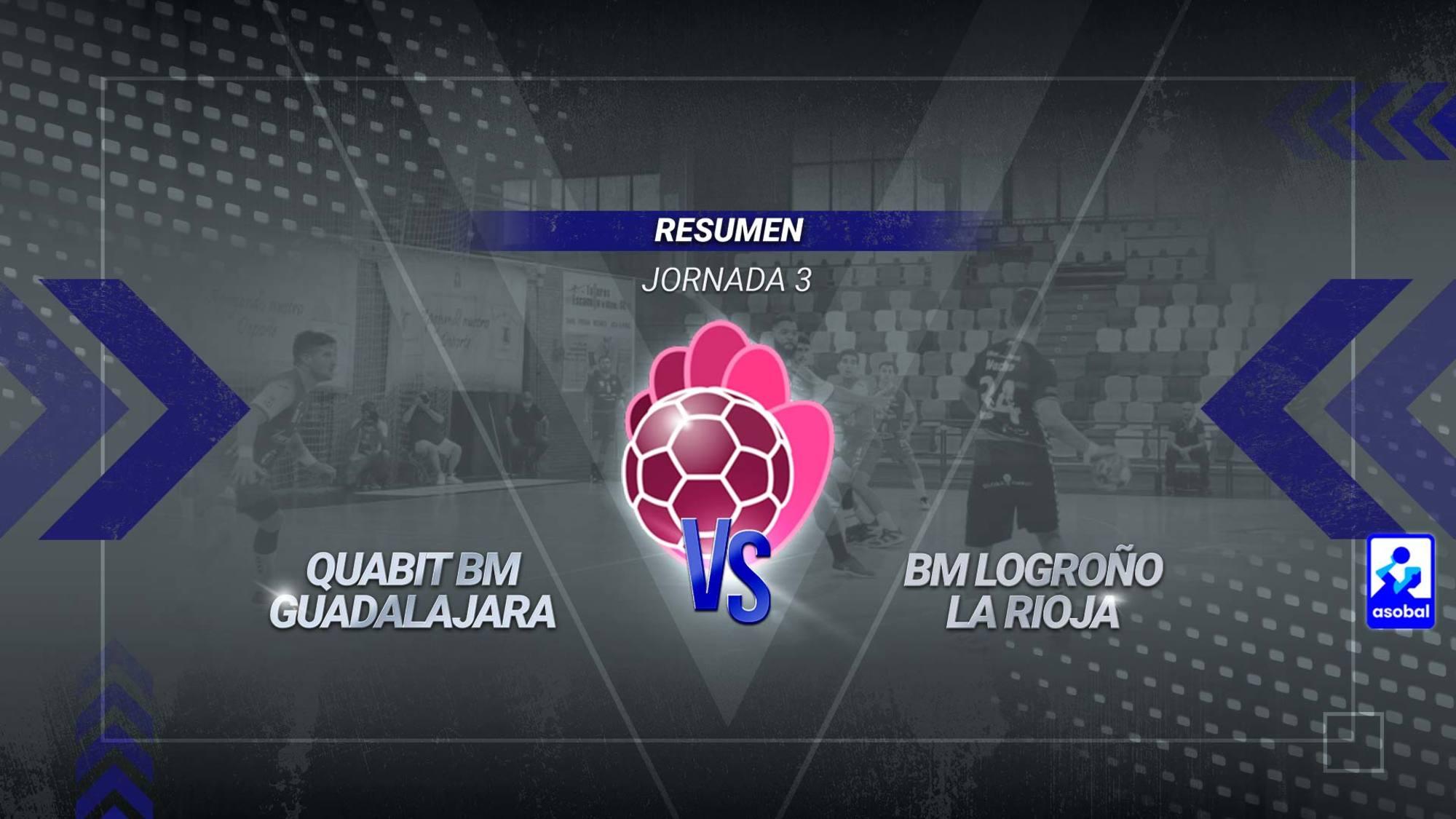 Contundente derrota del Quabit BM Guadalajara en un encuentro que se decidió en la segunda mitad. Los alcarreños llegaron al descanso con una renta desfavorable de dos goles, pero encajaron un demoledor parcial de 3-14 tras la reanudación que acabó con cualquier opción de puntuar. Alberto Díaz Hernández, con seis tantos, fue el máximo goleador de los de Mariano Ortega.
