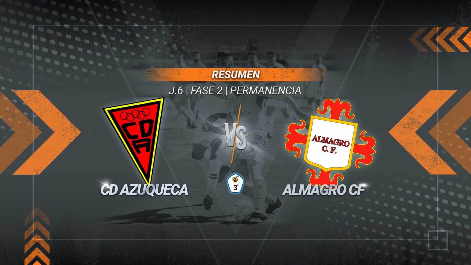 El Azuqueca se impone al Almagro 4-2 en el partido aplazado correspondiente a la sexta jornada del grupo de permanencia. La victoria de los azudenses les deja más líderes con 43 puntos. El Almagro es colista, pero todavía le quedan tres partidos más.