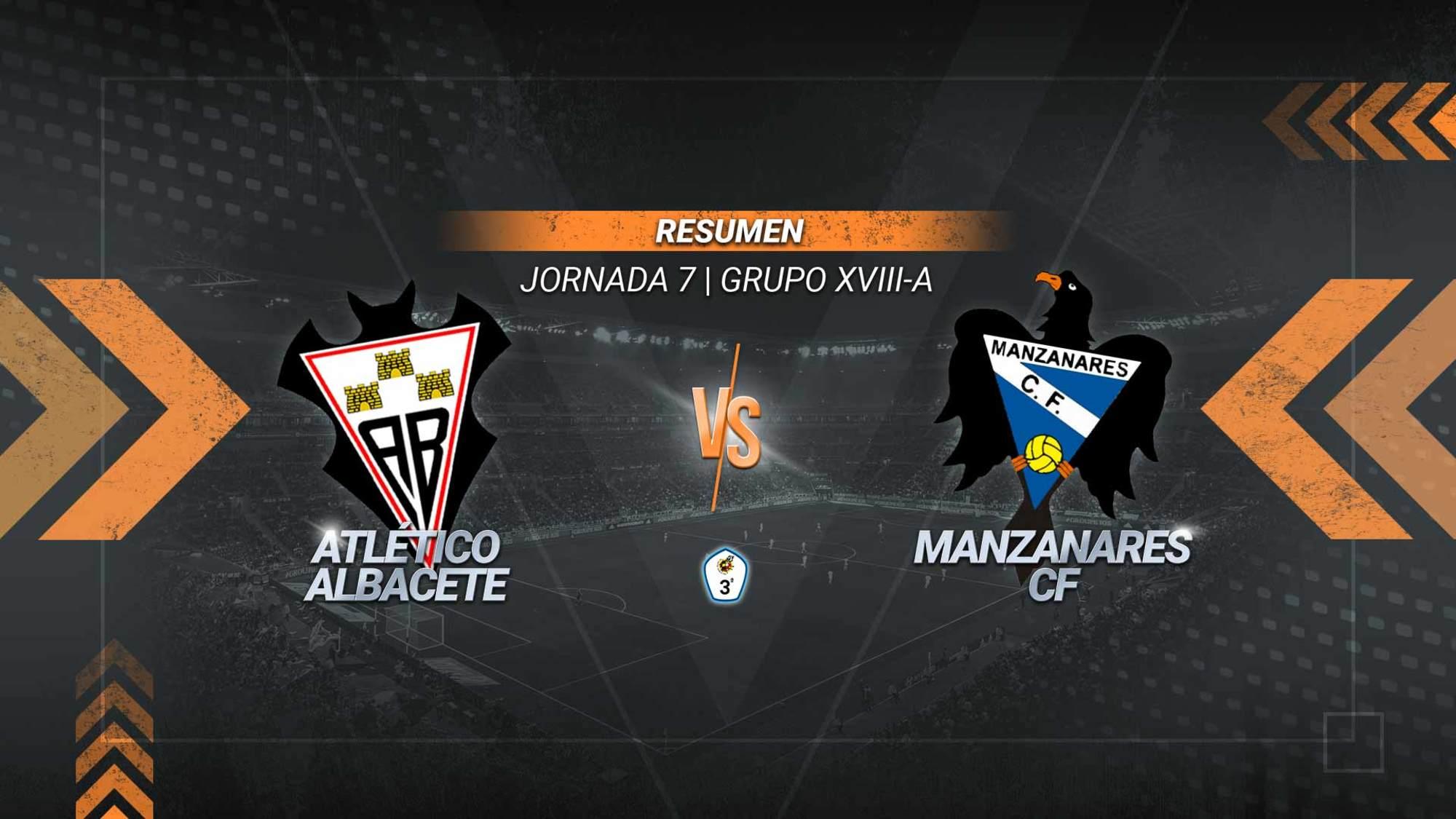 Dos goles en dos minutos permiten al Atlético Albacete sumar su cuarta victoria de la temporada. El filial albaceteño se coloca segundo de forma provisional, mientras que el Manzanares continúa como colista y sigue sin ganar.