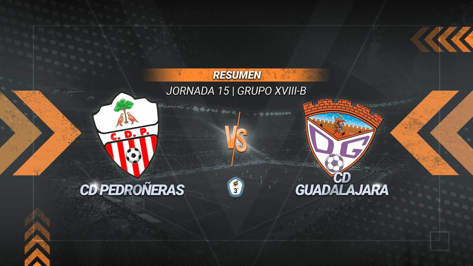 El Pedroñeras remonta ante el Guadalajara y suma el primer triunfo del año 2021. Los goles de Mamadou y Santi Cabeza en el tramo final permiten a los ajeros abandonar el puesto de colista y alcanzar los 7 puntos. Los alcarreños, a pesar de la derrota, se mantienen segundos con 24.