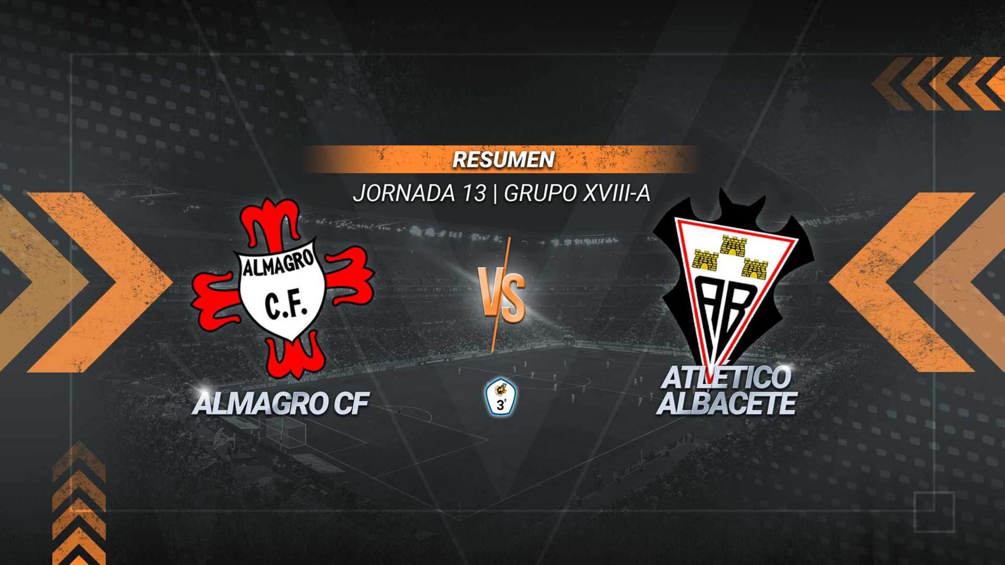 Vargas y Emiliano ratifican el liderato del Atlético Albacete. El filial albaceteño suma su quinto triunfo consecutivo y alcanza los 24 puntos. El Almagro se queda en la zona baja con 10.