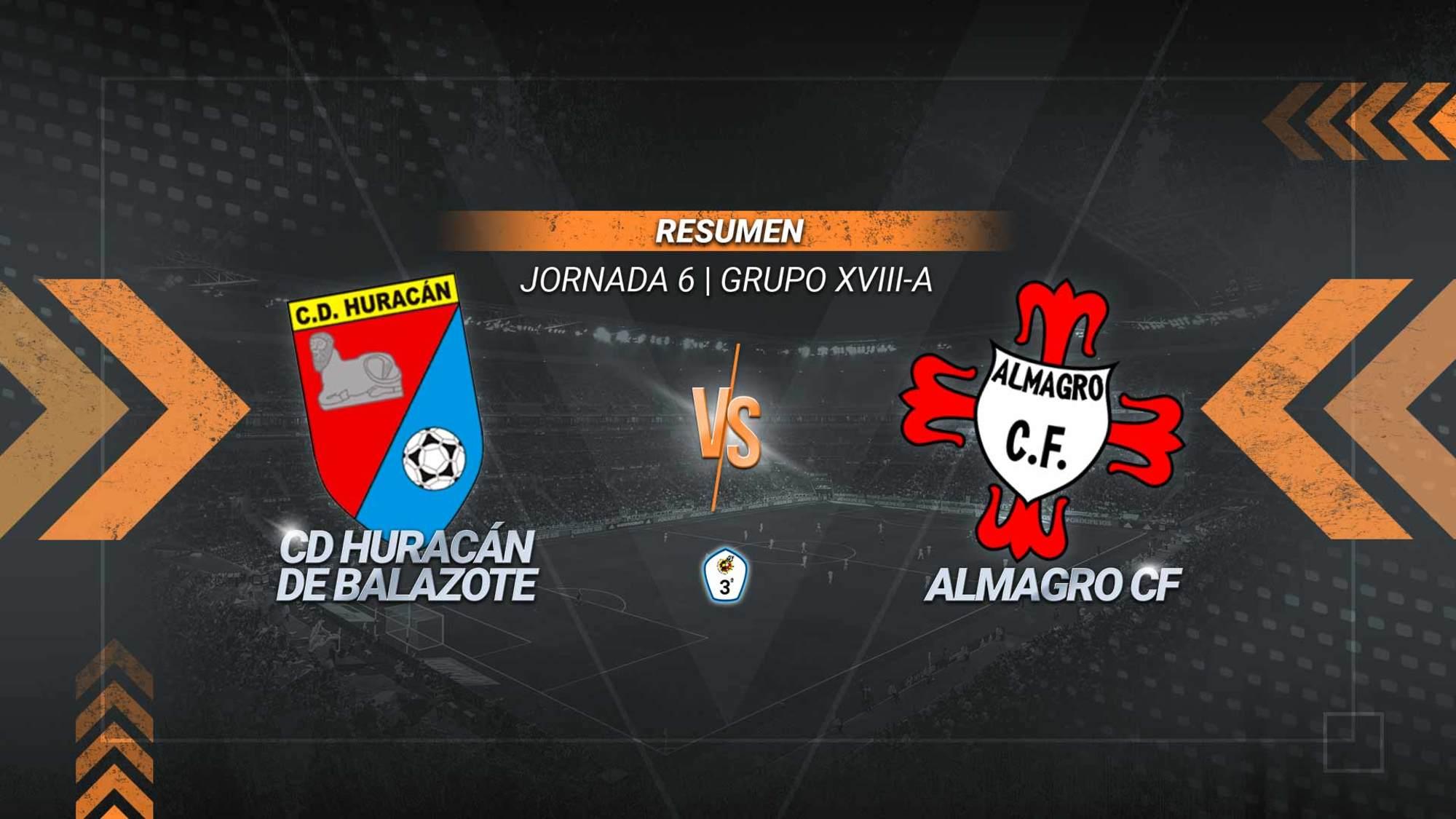 Javi Valcarce y Josemi ponen al Huracán líder del subgrupo A. El conjunto de Balazote suma el tercer triunfo de la temporada y se mantiene invicto. El Almagro continúa en la zona media con siete.