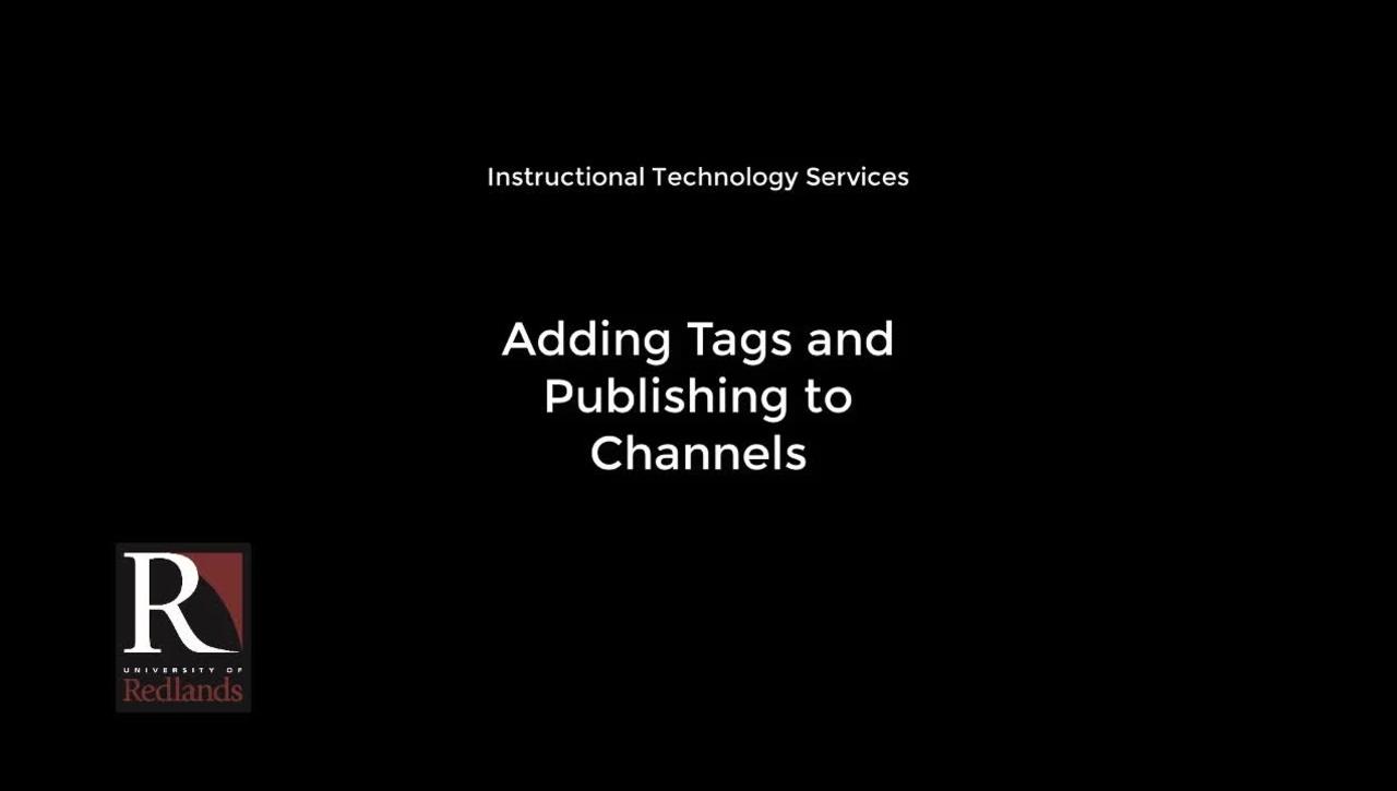 Adding Tags & Publishing a Video