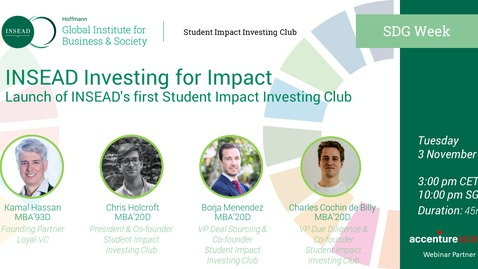 Thumbnail for entry Launch of INSEAD's first Student Impact Investing Club