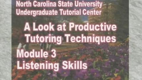 Thumbnail for entry Module 3: Listening Skills