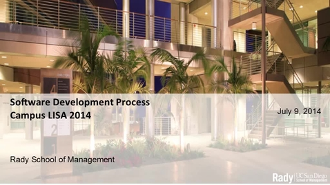 Thumbnail for entry 20140709-CampusLISA-SoftwareDevelopmentProcess.mp4