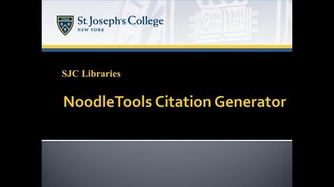 Thumbnail for entry NoodleTools Citation Generator
