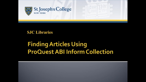 Thumbnail for entry Finding Articles Using ProQuest ABI