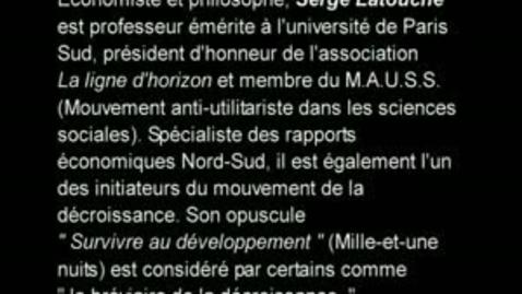 Miniatura para la entrada Serge Latouche - La décroissance - 01