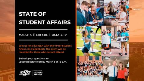 Thumbnail for entry REBROADCAST:  State of Student Affairs, Q&A with the VP of student Affairs