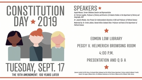 Thumbnail for entry REBROADCAST:  Constitution Day 2019 The 19th Amendment: 100 Years Later
