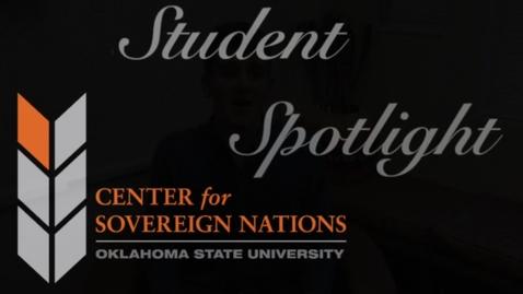 Thumbnail for entry Center for Sovereign Nations Student Spotlight | Zach Kensinger