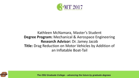Thumbnail for entry Kathleen McNamara, Master's Student: Drag Reduction on Motor Vehicles by Addition of an Inflatable Boat-Tail