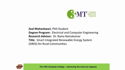 Thumbnail for entry 2016 OSU 3MTâ Finals Presentation: Zeel Maheshwari