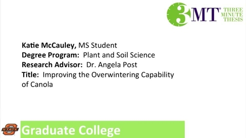 Thumbnail for entry 3 Minute Thesis: Katie McCauley