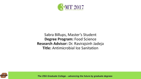 Thumbnail for entry Sabra Billups, Master's Student: Antimicrobial Ice Sanitation
