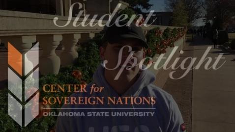 Thumbnail for entry Center for Sovereign Nations Student Spotlight | Noah Berryhill