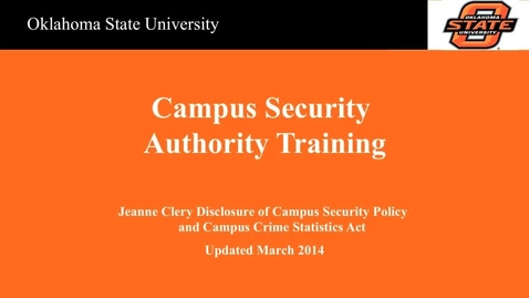 Thumbnail for entry Campus Security Authority Training