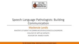 Thumbnail for entry 2017 3MP Finals - Speech-Language Pathologists: Building Communication