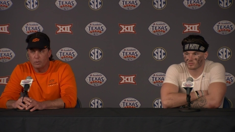 Thumbnail for entry Academy Texas Bowl Postgame Press Conference:  Mike Gundy and Dru Brown