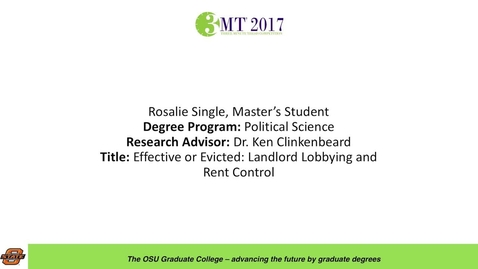Thumbnail for entry Rosalie Single, Master's Student: Effective or Evicted: Landlord Lobbying and Rent Control