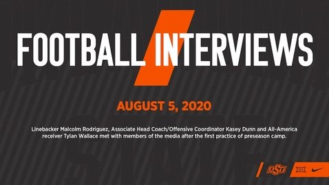 Thumbnail for entry COWBOY FOOTBALL:  August 5 Post-Practice Interviews