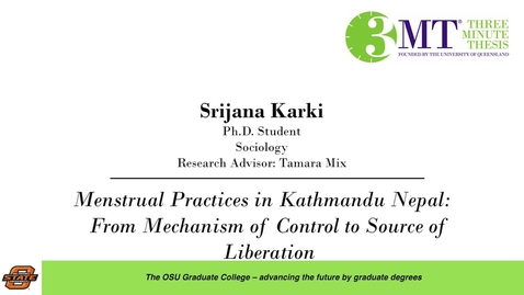 Thumbnail for entry 2018 3 Minute Thesis Finals: Srijana Karki