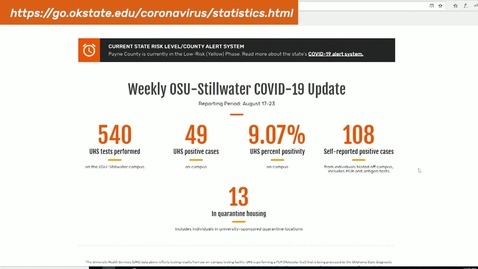 Thumbnail for entry Cowboys Coming Back:  OSU Implements COVID Testing Dashboard
