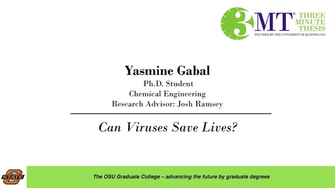 Thumbnail for entry 2018 3 Minute Thesis Finals: Yasmine Gabal